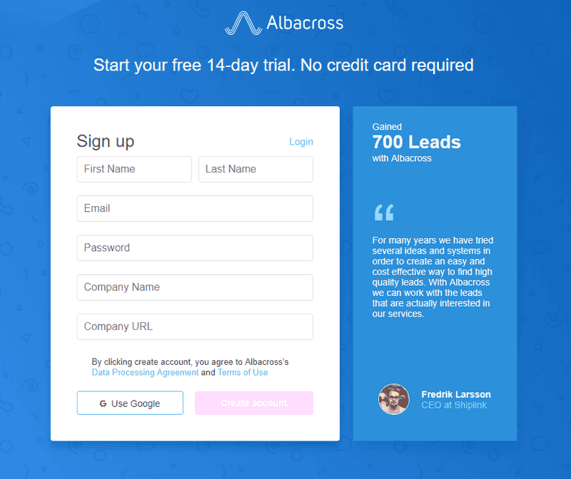 Improve activation rate_Albacross signup form