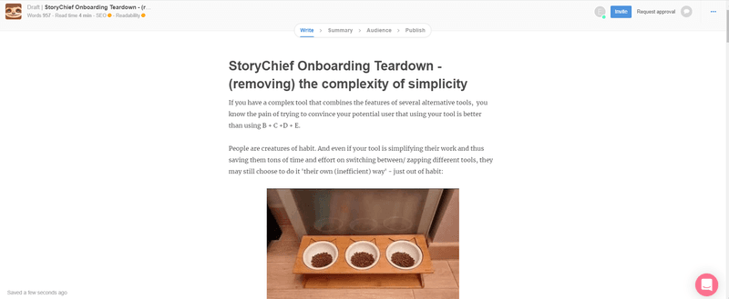 storychief onboarding ux