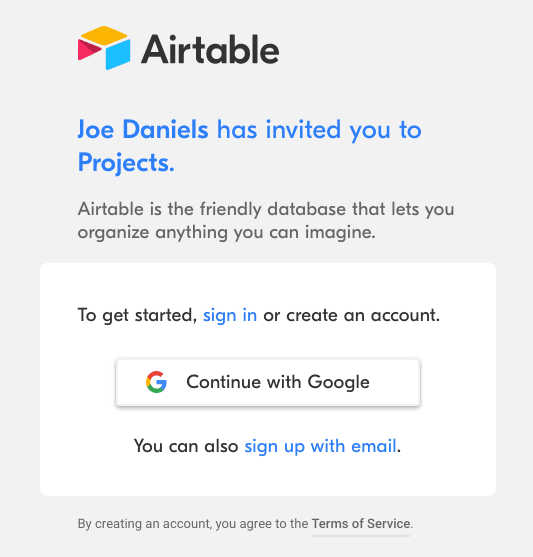 airtable onboarding invited user