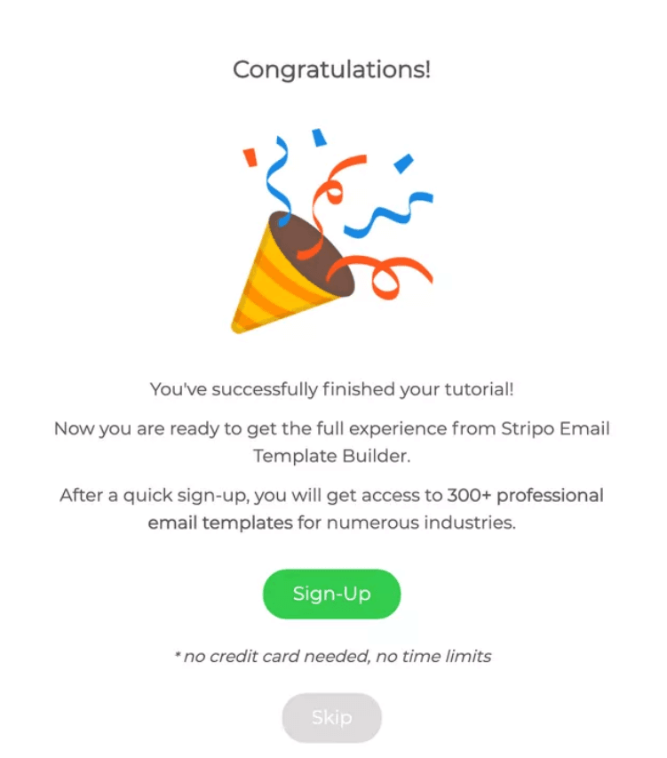 stripo product onboarding