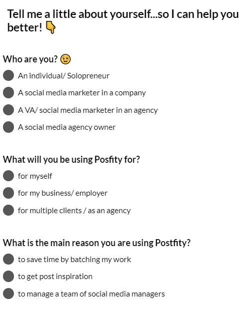 Postfity.com welcome screen