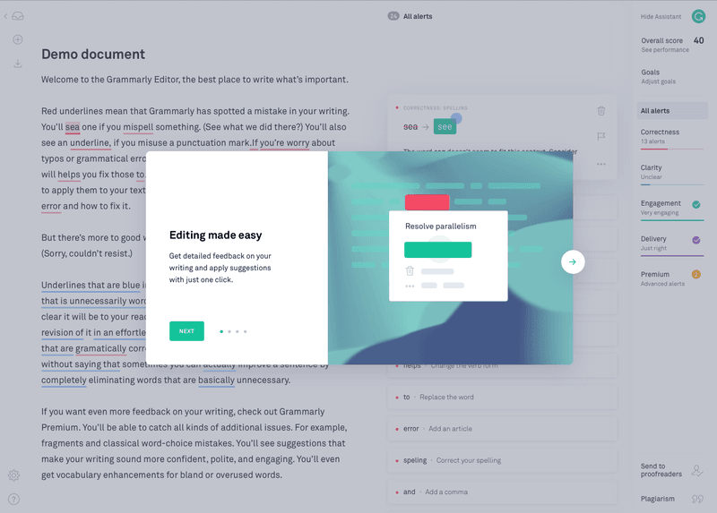 Grammarly highlights editing tool