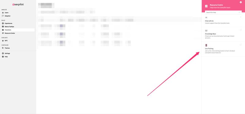Userpilot's help widget