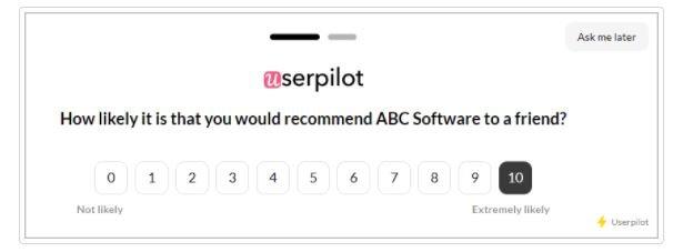 Userpilot's NPS survey