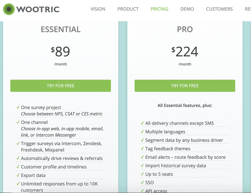 wootric pricing