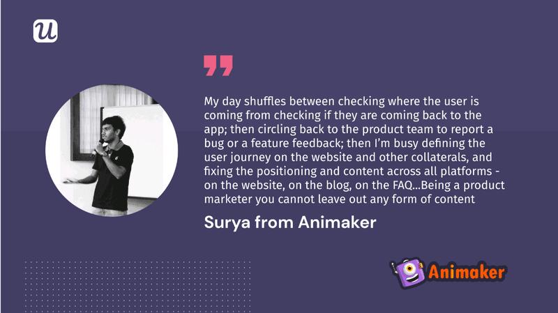 Surya animaker product marketer