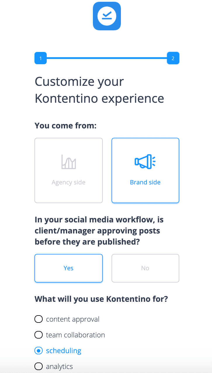 Kontentino's qualifying microsurveys