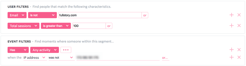 Fullstory lets you define power user segments