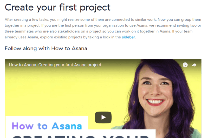 Asana onboards with video