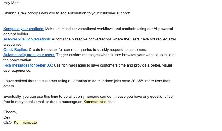 Kommunikate email to slipping away users