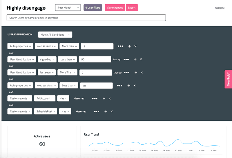 Userpilot disengaged user segmentation