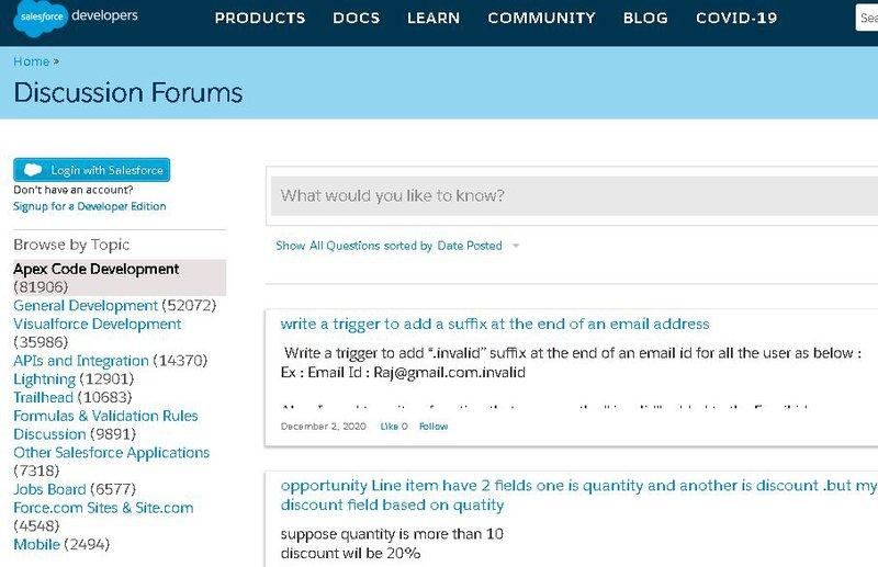 Salesforce developer forum